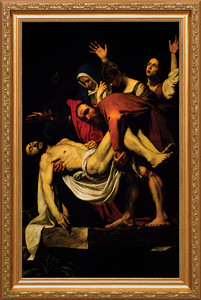 Deposition of Christ by Caravaggion Canvas - Standard Gold Framed Art