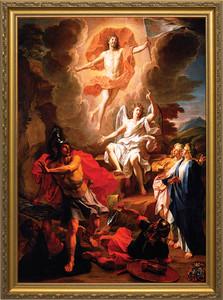 Resurrection of Christ by Coypel Canvas - Standard Gold Framed Art