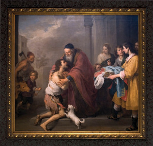 Prodigal Son by Murillo Canvas - Ornate Dark Framed Art