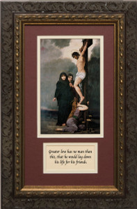 Crucifixion of our Lord Matted with Prayer - Ornate Dark Framed Art