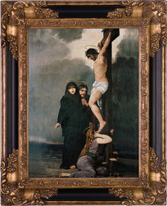 Crucifixion of our Lord Canvas - Black and Gold Museum Framed Art