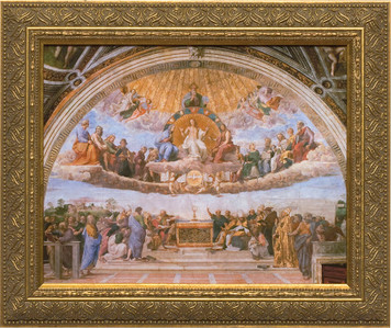 Disputation of the Holy Eucharist Canvas - Standard Gold Framed Art