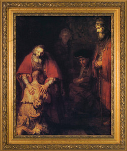 Prodigal Son by Rembrandt Canvas - Gold Framed Art