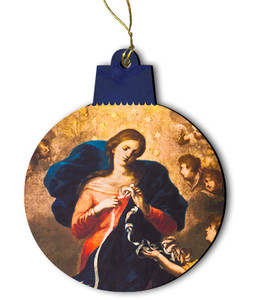 Mary Undoer of Knots Detail Wood Ornament