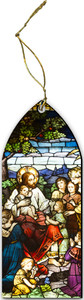 Jesus with the Children Stained Glass Wood Ornament