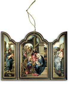 Adoration of the Magi <em>(Dark Blue)</em> Triptych Wood Ornament