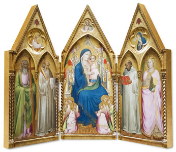 Madonna Enthroned with Saints and Angels Triptych Plaque