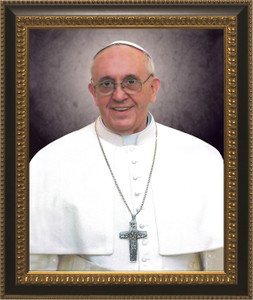 Pope Francis Formal Portrait: Ornate Black and Gold Frame