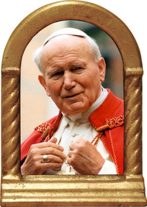 St. John Paul II Addressing the Faithful Desk Shrine
