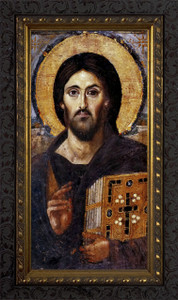 Christ Pantocrator Icon - Ornate Dark Framed Art