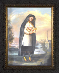 St. Kateri Tekakwitha - Ornate Dark Framed Art