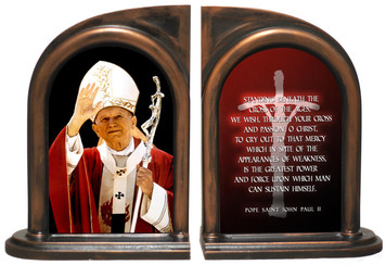 St. John Paul II Waving Bookends