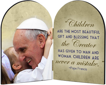 Pope Francis with Child Arched Diptych