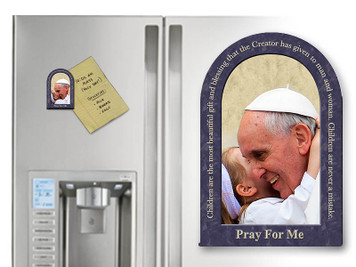 Pope Francis with Child Arched Magnet With Quote