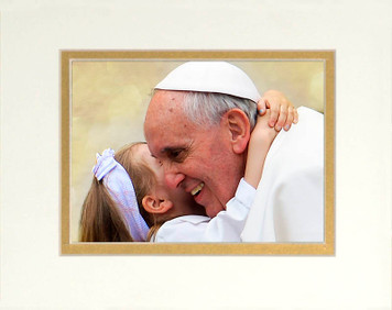 Pope Francis with Child Matted 5x7 Print