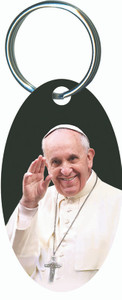 Pope Francis Waving Oval Keychain
