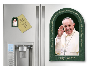 Pope Francis Waving Arched Magnet with Quote