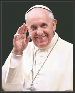 Pope Francis Waving Wall Plaque