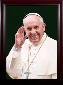 Pope Francis Waving Print Under Glass