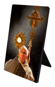Pope Francis with Monstrance Desk Plaque