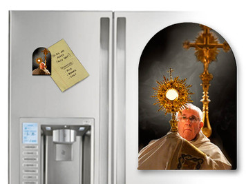 Pope Francis with Monstrance Arched Magnet