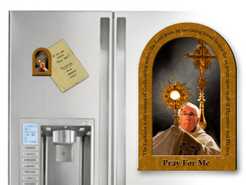 Pope Francis with Monstrance Arched Magnet with Quote