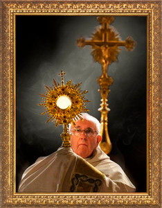 Pope Francis with Monstrance Print Under Glass