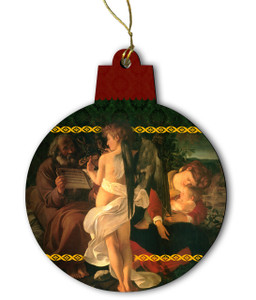 Rest on the Flight into Egypt by Carvagio Wood Ornament