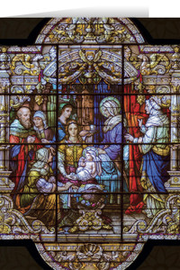 Nativity of Mary Stained Glass Christmas Cards (25 Cards)
