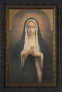 Antique Immaculate Heart of Mary Framed Art