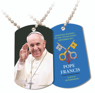 Pope Francis Waving Commemorative Apostolic Journey Dog Tag