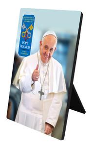 Pope Francis Thumbs Up Commemorative Apostolic Journey Desk Plaque