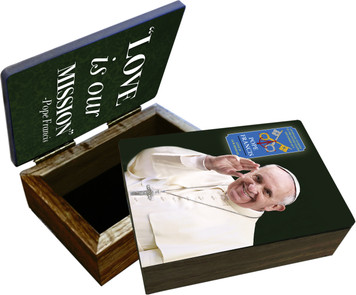 Pope Francis Waving Commemorative Apostolic Journey Keepsake Box