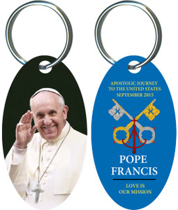 Pope Francis Waving Commemorative Apostolic Journey Keychain