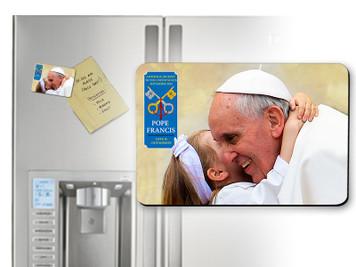 Pope Francis embracing Child Commemorative Visit Magnet