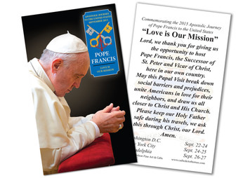 Pope Francis in Prayer Commemorative Holy Card
