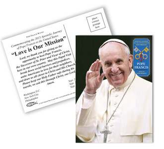 Pope Francis Waving Commemorative Apostolic Journey Postcards