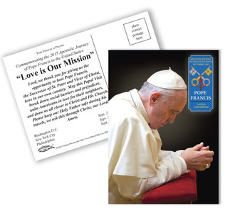 Pope Francis Praying Commemorative Apostolic Journey Postcards