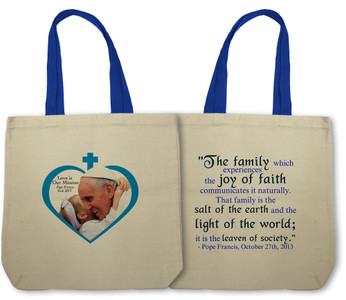 Love is Our Mission - Pope Francis Embracing Child Totebag