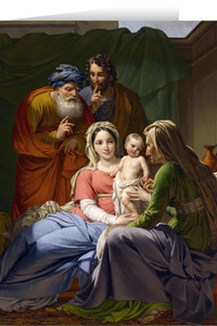 Holy Family with Grandparents Joachim and Anne Greeting Cards