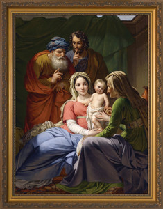 Holy Family with Grandparents Joachim and Anne - Standard Gold Framed Art