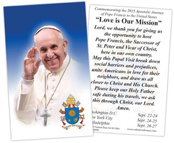 Pope Francis U.S. Visit Commemorative Holy Card