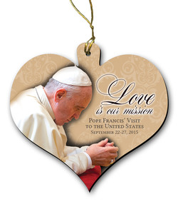 Love is Our Mission Pope Francis in Prayer Wood Heart Ornament