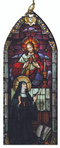 The Sacred Heart of Jesus and St. Margaret Mary Alacoque Stained Glass Wood Ornament
