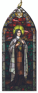 St. Therese of Lisieux Stained Glass Wood Ornament