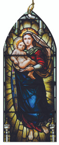 Madonna and Child Stained Glass Wood Ornament