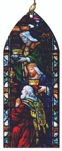 The Wise Men Bearing Gifts Stained Glass Wood Ornament