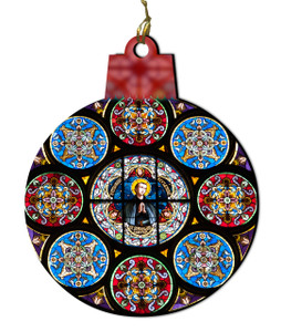 St. Stanislaus Kostka Stained Glass Wood Ornament