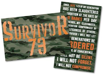 Survivor 73 Pro-Life Card