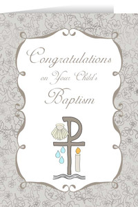 Child's Baptism Grey Greeting Card